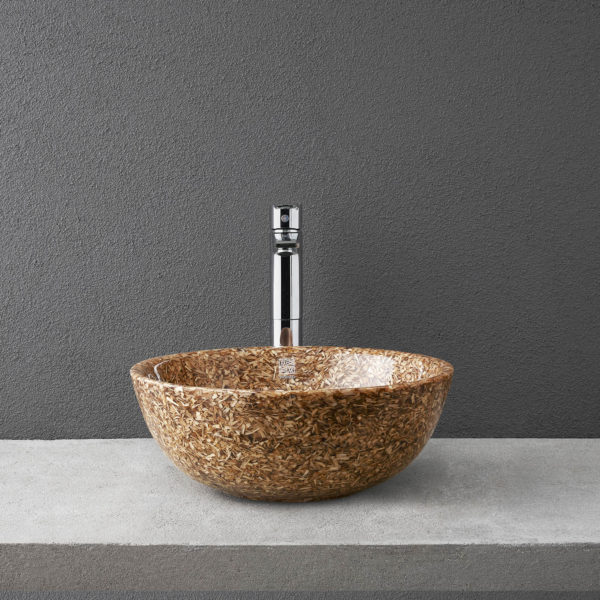 Woodio Soft40 table top washbasin in Natural Birch