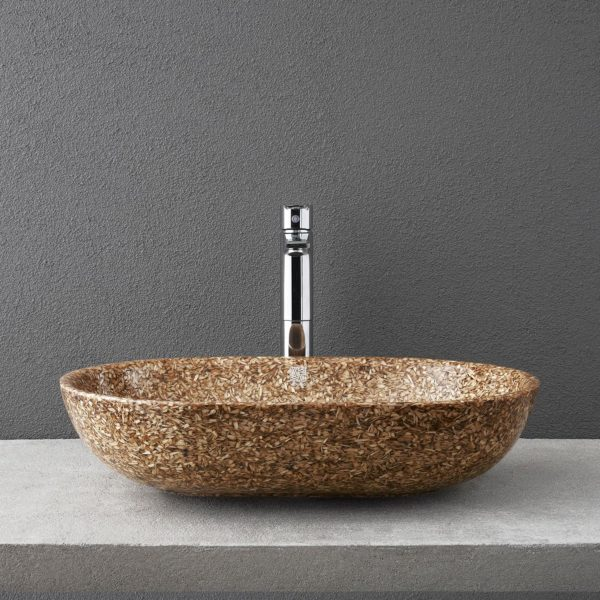 Woodio Soft60 table top washbasin in Natural Birch